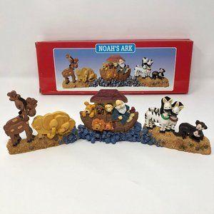 Noah's Ark Figurine Nursery Display for Shelf